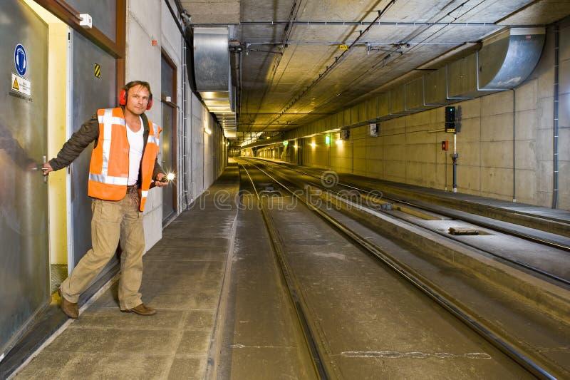 De Ingenieur van de tunnel stock afbeeldingen