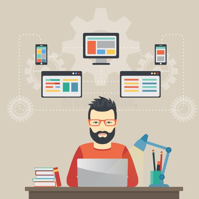De ingenieursconcept van de mensensoftware met ontwerp, optimalisering, ontvankelijke en ontwikkelaaroplossingen stock illustratie
