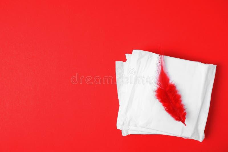 De ingepakte menstruele stootkussens en de rode veer op kleurenachtergrond, vlakte leggen met ruimte voor tekst royalty-vrije stock foto