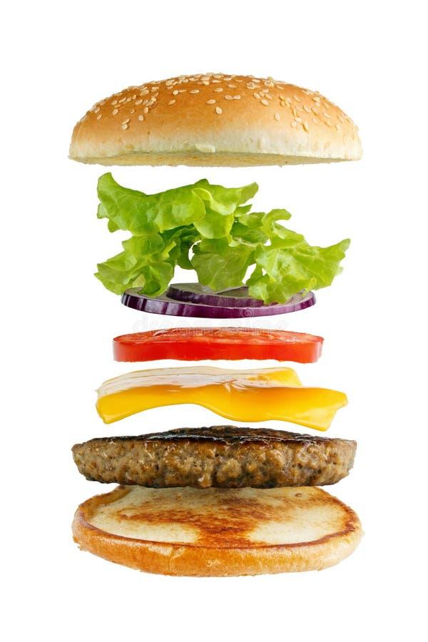 De ingrediënten van de hamburger stock fotografie