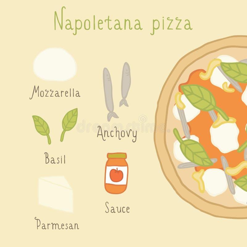 De ingrediënten van de Napoletanapizza vector illustratie