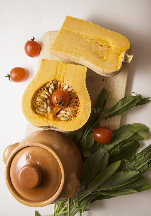 De ingrediënten van de pompoenhutspot stock afbeelding