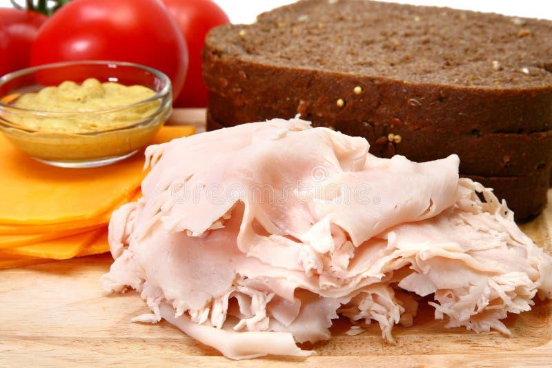 De Ingrediënten van de Sandwich van Turkije stock foto's