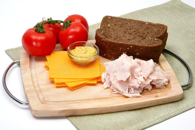 De Ingrediënten van de Sandwich van Turkije stock afbeelding