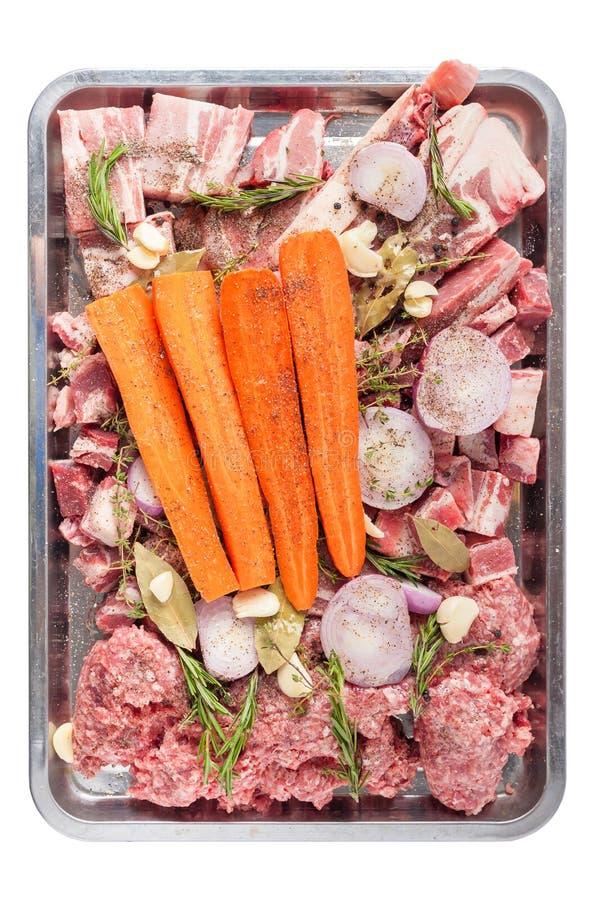 De ingrediënten van de varkensvleesvoorraad stock foto's