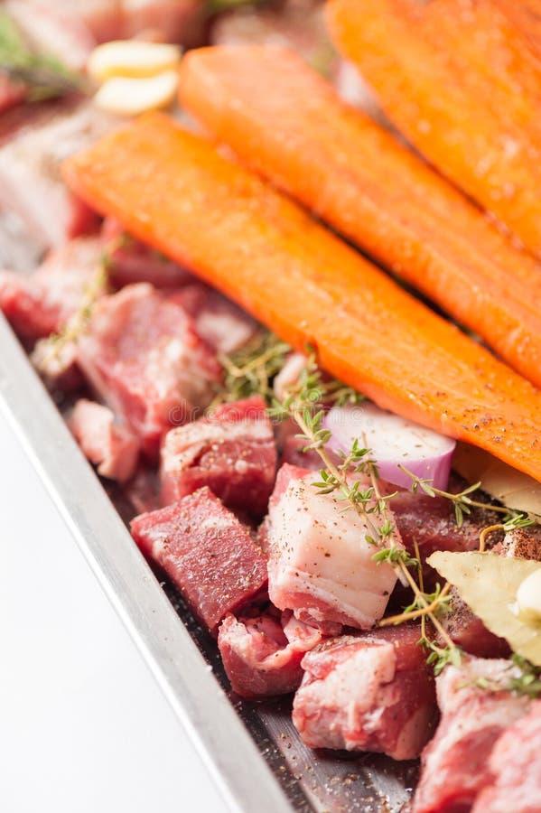De ingrediënten van de varkensvleesvoorraad stock foto