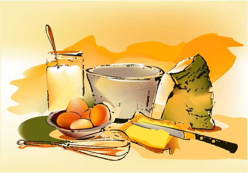 De ingrediënten van het baksel royalty-vrije illustratie