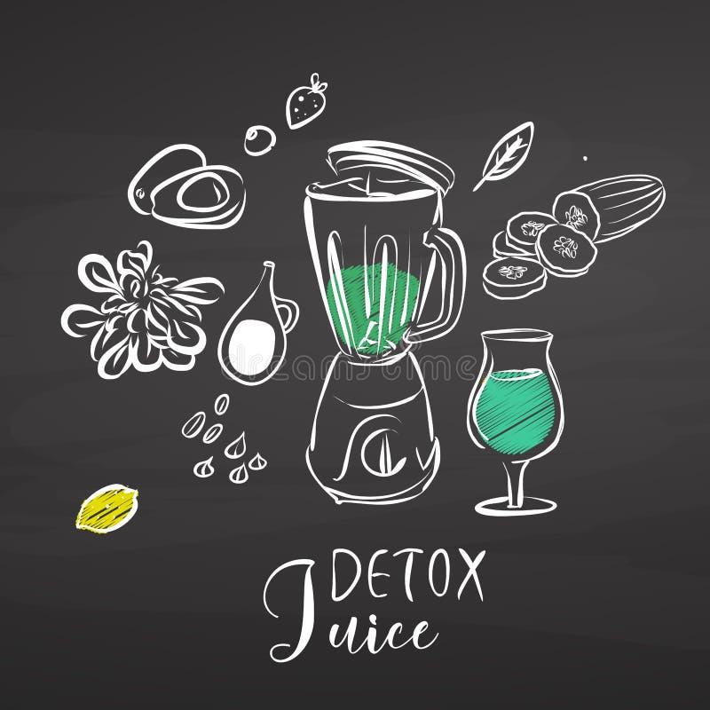 De ingrediënten van het Detoxsap op bord vector illustratie