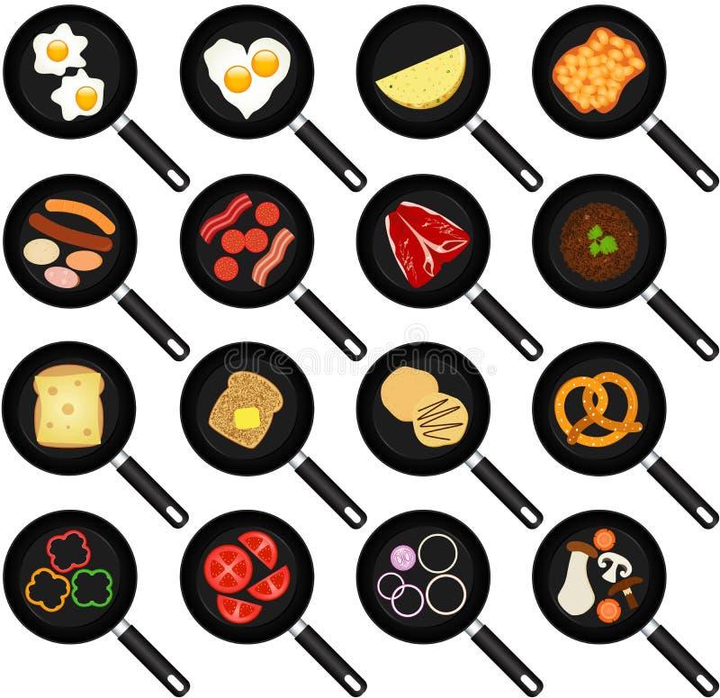 De Ingrediënten van het ontbijt in Non-stick Pannen stock illustratie