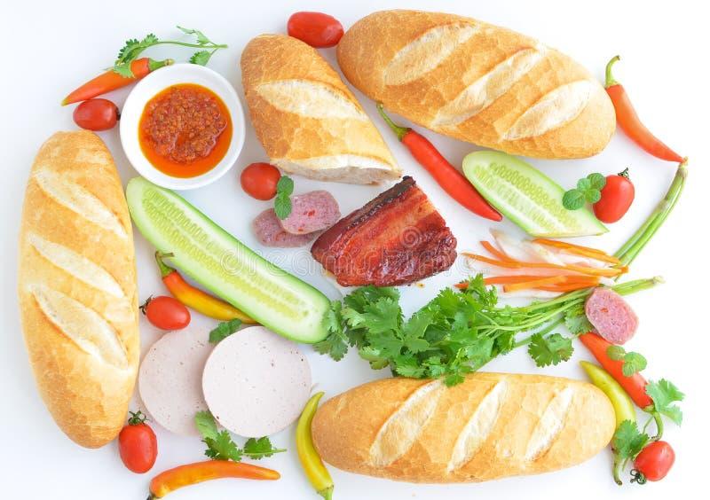 De ingrediënten van Vietnamese baguette stock afbeelding