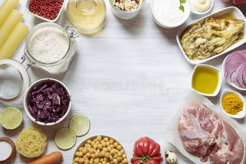 De ingredi?nten van het voedsel stock afbeeldingen