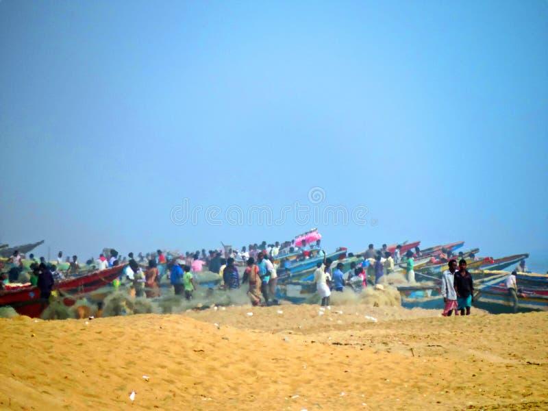 De Inham van de visser, Chandrabhaga-strand, Konark Odisha stock fotografie
