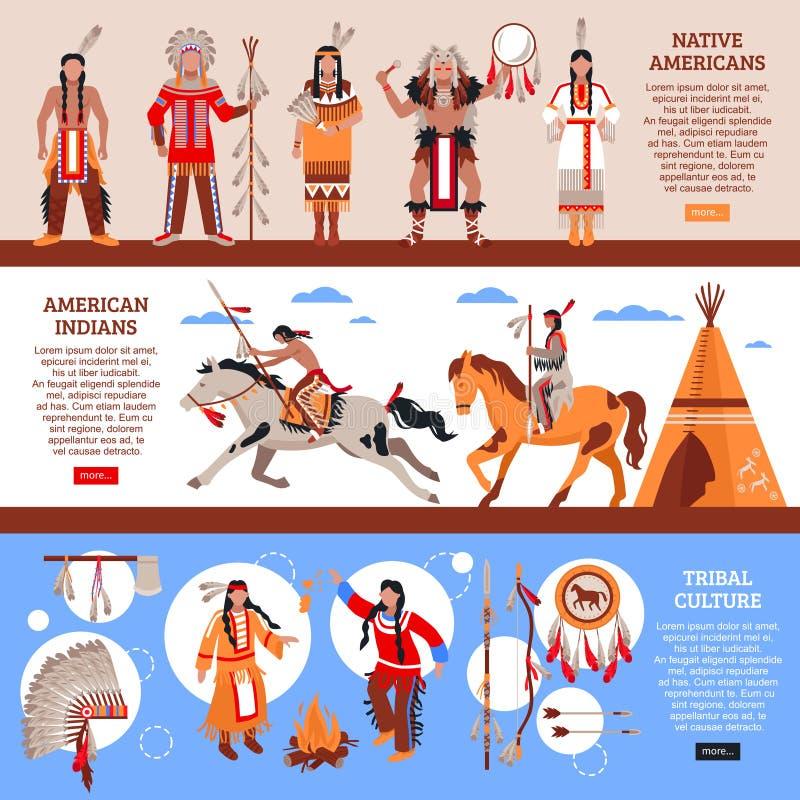De inheemse Horizontale Banners van Amerikanen vector illustratie