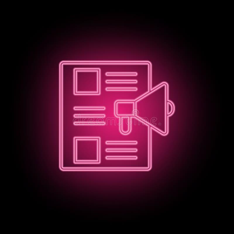 De inhoud, marketing, media neonpictogram kan worden gebruikt om onderwerpen over SEO-optimalisering, gegevensanalytics, website  vector illustratie