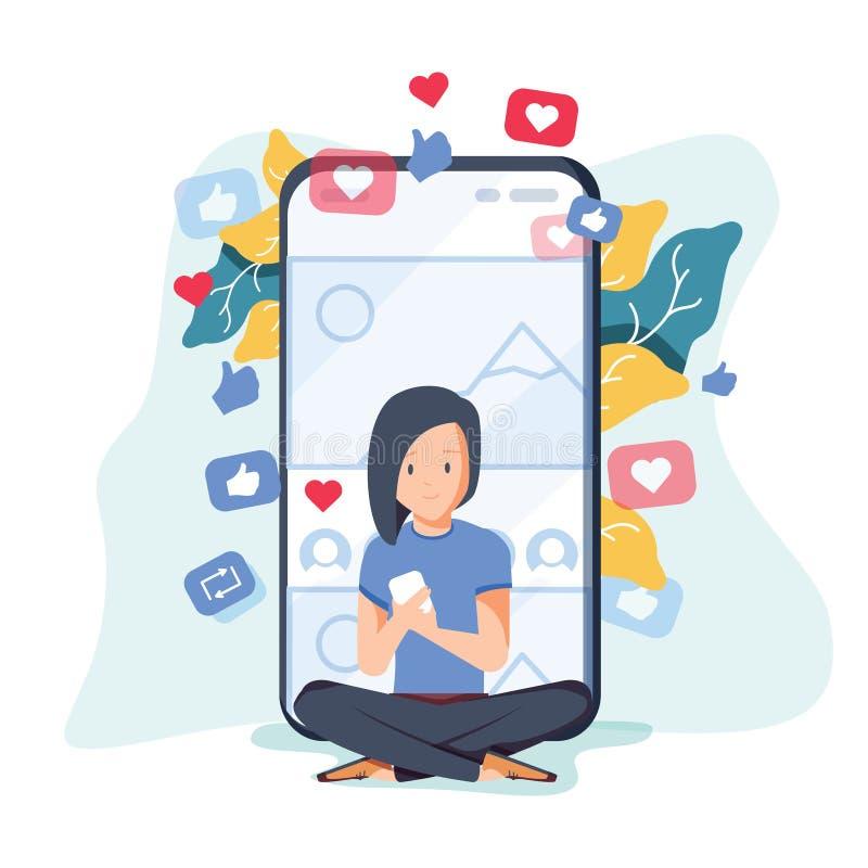 De inhoud van de conceptenblog, Blogging, post, inhoudsstrategie, sociale media die, voor sociale Web-pagina babbelen, royalty-vrije illustratie