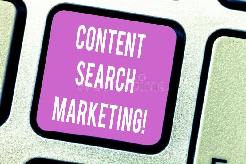 De Inhoudszoeken van de handschrifttekst Marketing Concept die bevorderend websites door het Toetsenbord van het zichtonderzoek t stock afbeeldingen