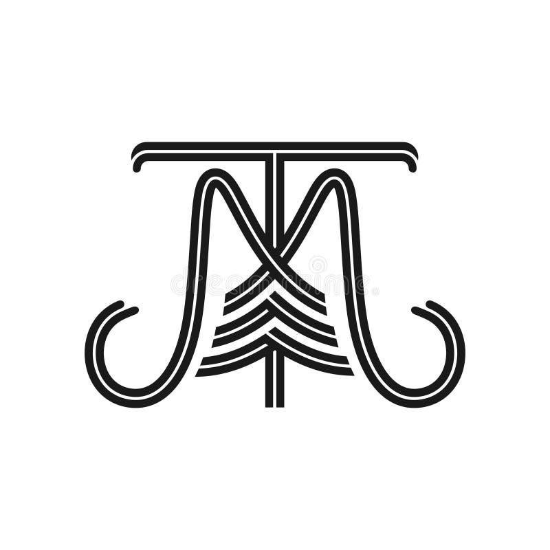 De initialen MT-embleem vector illustratie