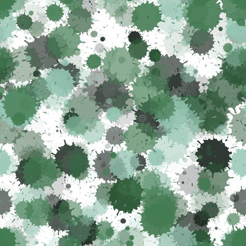 De in inkt ploetert, bespuit vlekken, vuile naadloze vlekelementen De waterverfverf bespat patroon, vlekken vloeibare vlekken stock illustratie