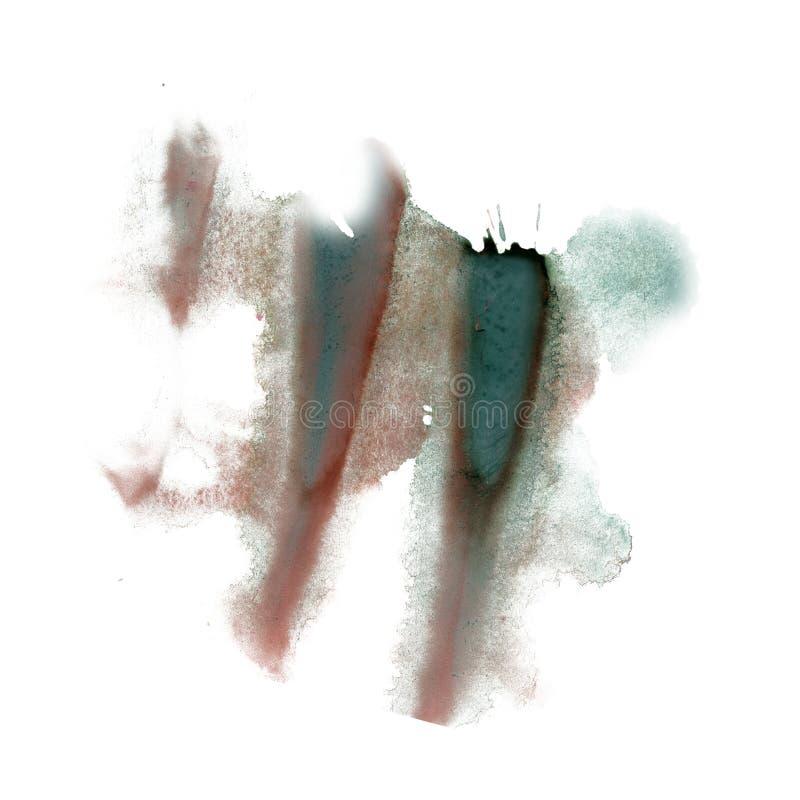 De inkt ploetert watercolour textuur van de de vlek bruine groene die vlek van de kleurstof de vloeibare waterverf macro op witte royalty-vrije stock fotografie