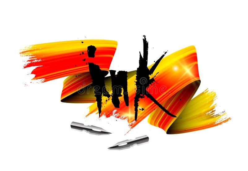 De inkt van de boomstam die realistische vectorillustratie laat letterzetten stock illustratie