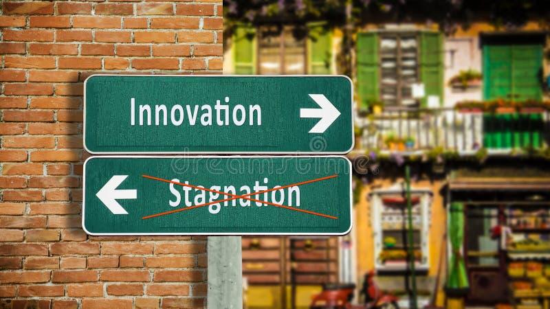 De Innovatie van het straatteken tegenover Stagnatie royalty-vrije stock foto
