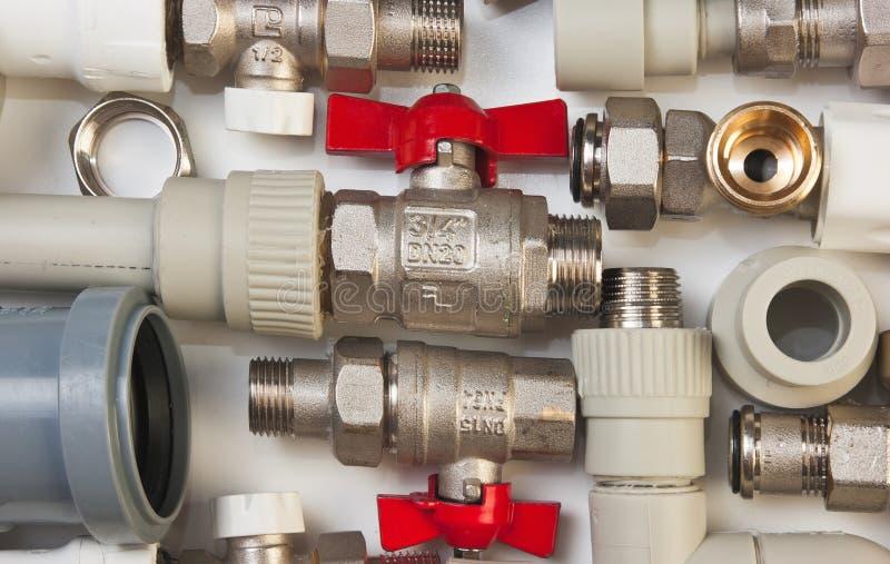 De inrichtingen van het loodgieterswerk stock foto