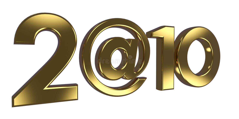 De inschrijving 2010, in plaats van nul gebruikte het @ teken. stock illustratie