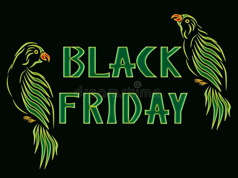 De inschrijving Black Friday met geelgroene papegaaien stock foto's