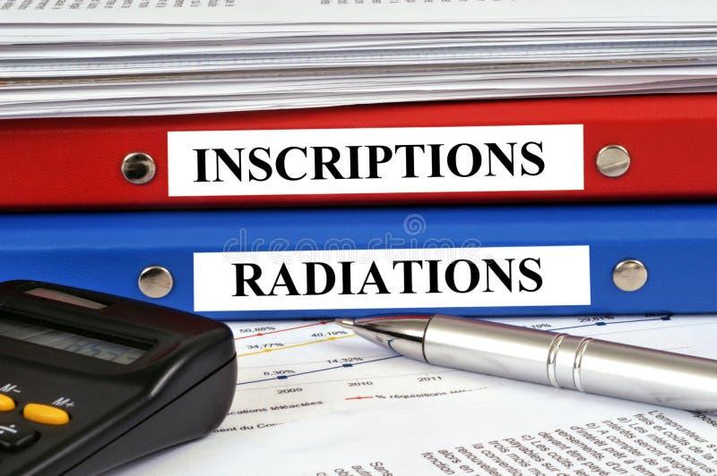 De inschrijving en de straling registreren geschreven in het Frans stock afbeelding