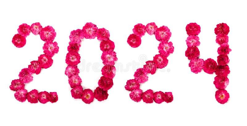 De inschrijving 2024 van bloemen op een witte achtergrond royalty-vrije stock fotografie