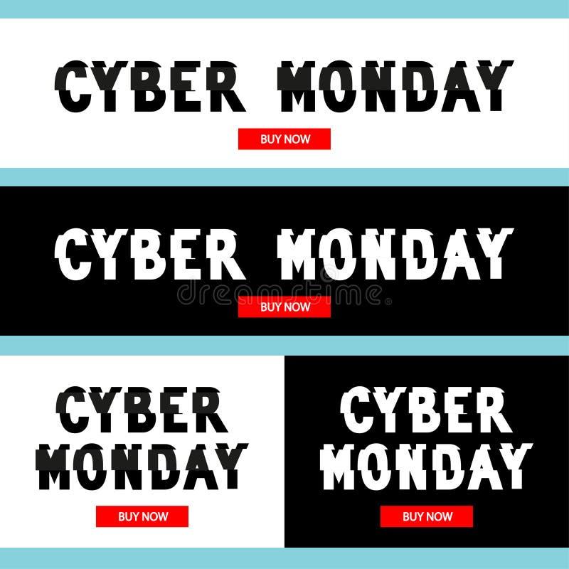 De inschrijving van de Cybermaandag in vervormd glitch stijlideaal voor reclame, het brandmerken, aandelen, bevordering stock illustratie