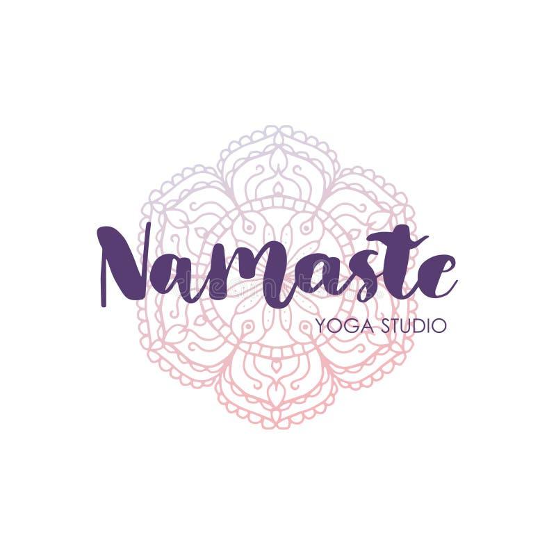 De inschrijving van de handtekening het van letters voorzien met mandala Het woord Namaste Vector illustratie Aan drukontwerp royalty-vrije illustratie