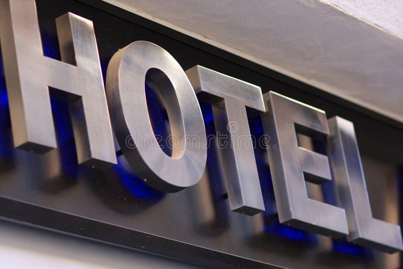 De inschrijving van het hotel bij de bouw royalty-vrije stock foto's