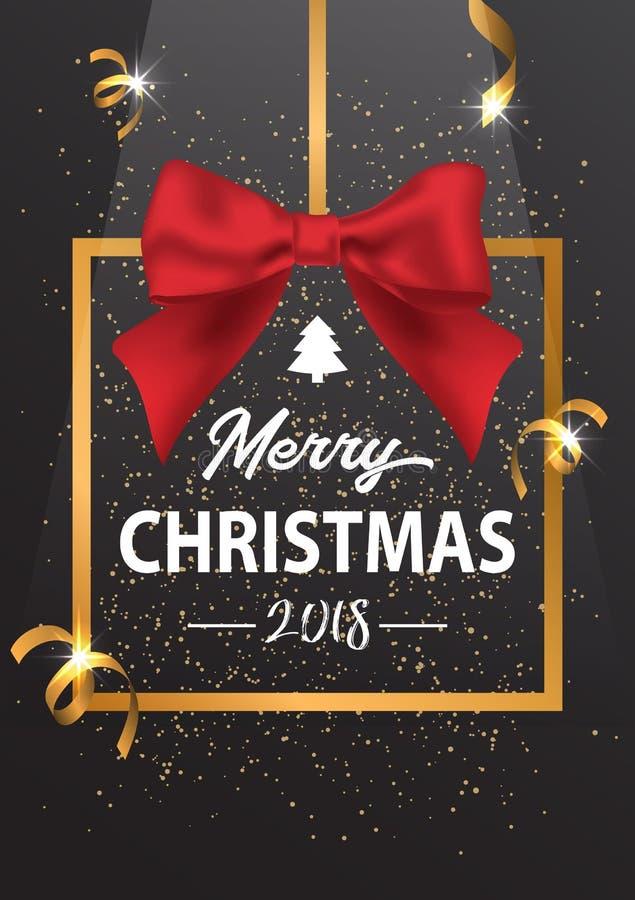 De inschrijving van vrolijke Kerstmis in een gouden kader en met een Re stock foto's
