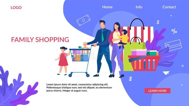De Inschrijvingsfamilie van de reclamevlieger het Winkelen stock illustratie