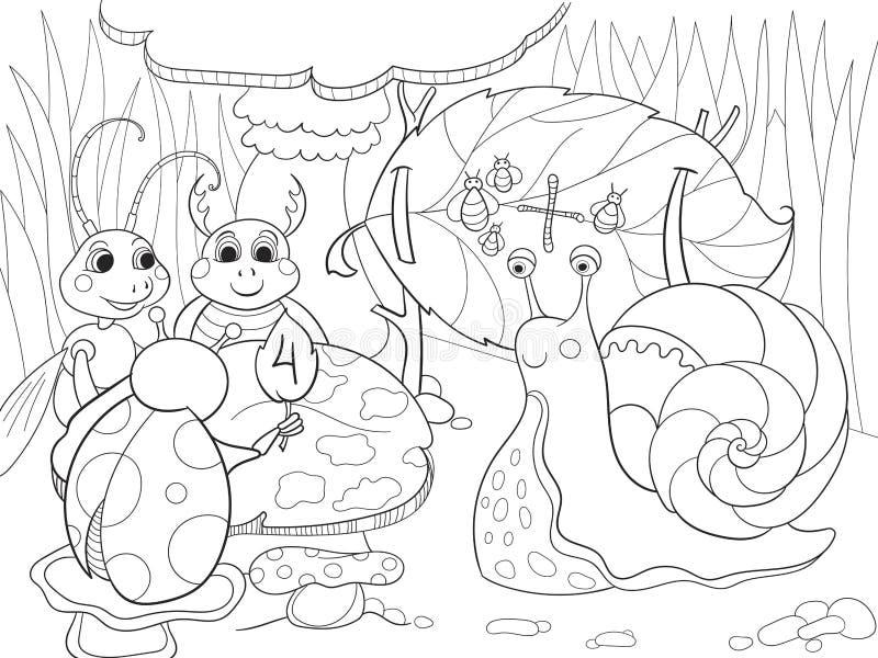 De insecten leren wiskunde het kleuren voor de vectorillustratie van het kinderenbeeldverhaal vector illustratie
