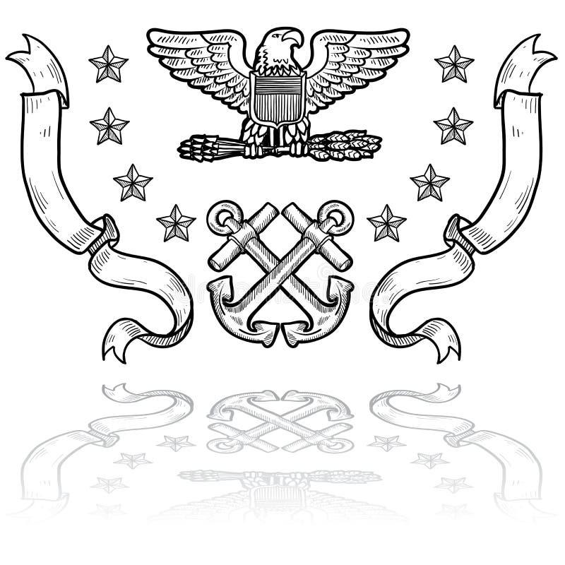 De Insignes van de Marine van de V.S. met Linten stock illustratie
