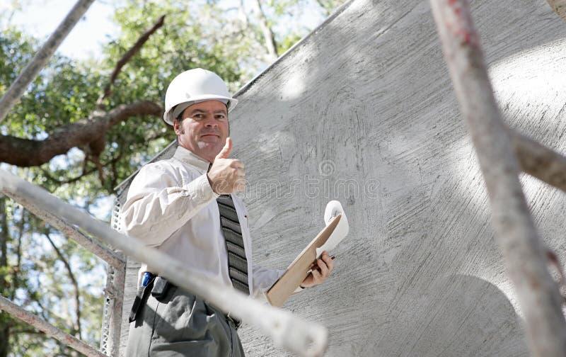 De Inspecteur Thumbsu van de bouw stock afbeelding