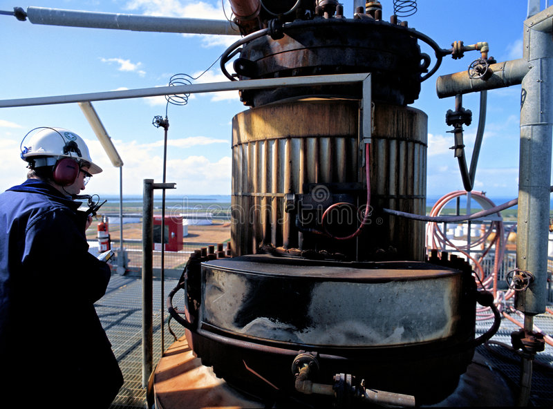 De Inspecteur van de Veiligheid van de Raffinaderij van de olie royalty-vrije stock foto