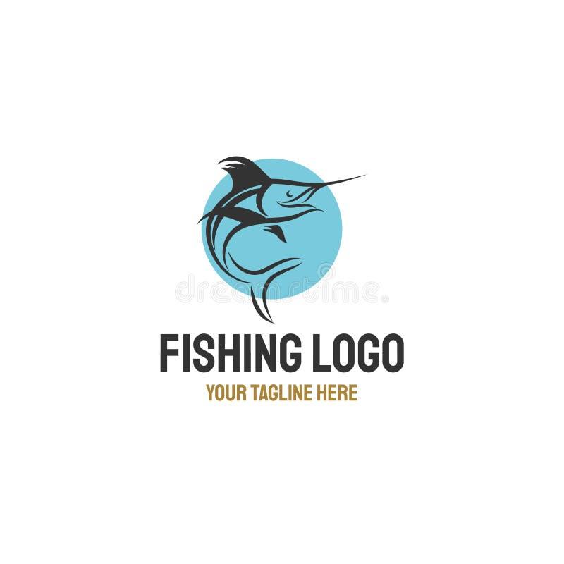 De inspiraties van het embleemontwerpen van marlijnvissen royalty-vrije illustratie