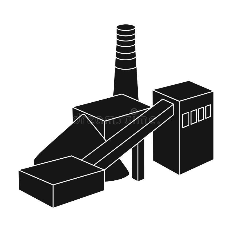 De installatie met de pijp Fabriek bij de verwerking van mineralen van de mijn Het enige pictogram van de mijnindustrie in zwarte royalty-vrije illustratie