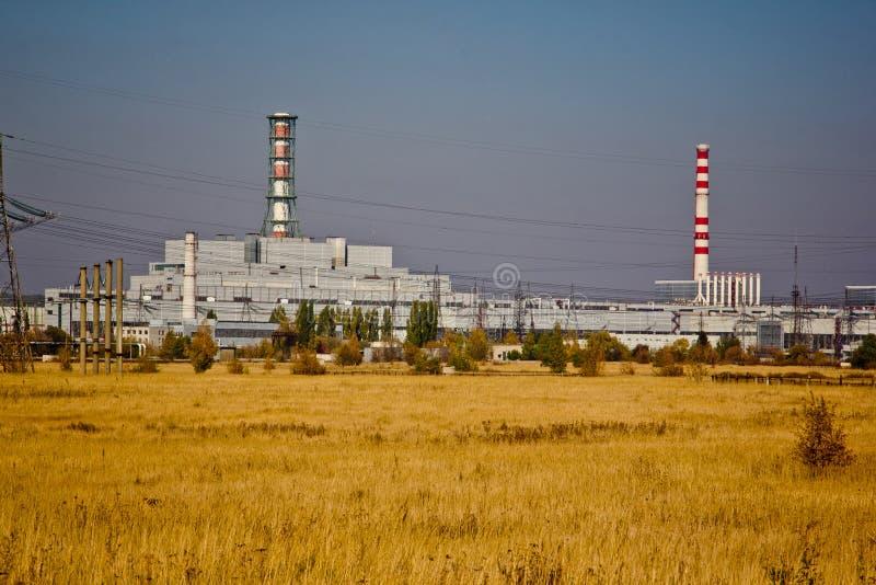 De installatie van de Kurskkernenergie in de herfst stock foto's
