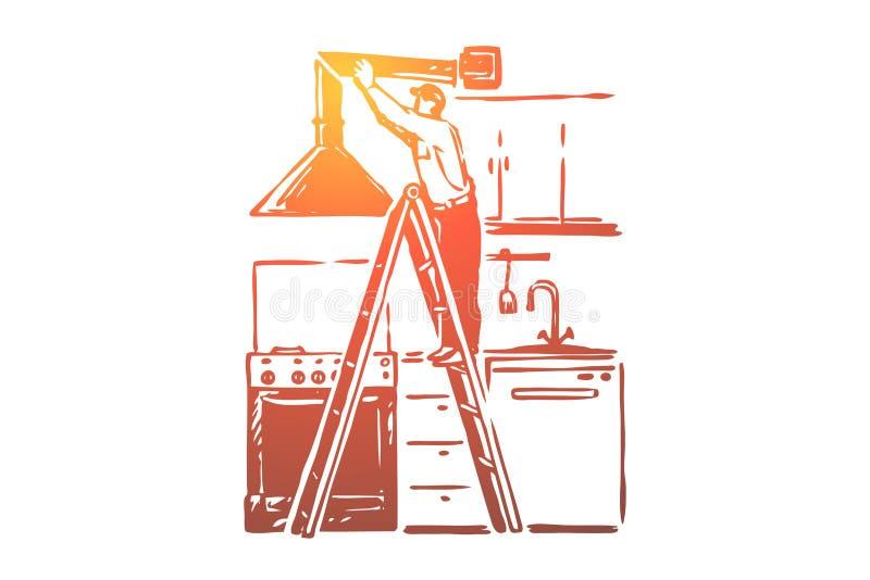 De installatie van de uitlaatkap, manusje van alles die zich op ladder, systeem van de de arbeiders het bevestigende ventilatie v vector illustratie