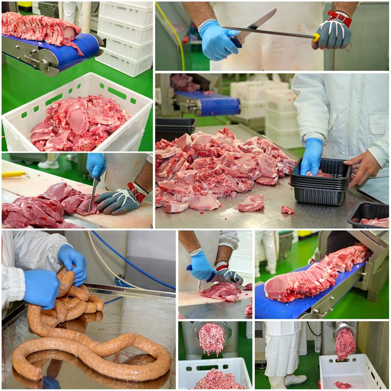 De Installatie van de vleesverwerking - Collage stock foto