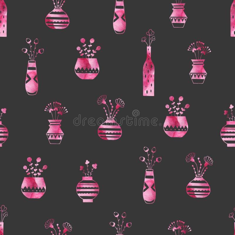De installaties in vazen met waterverf doorboren patronen vector illustratie