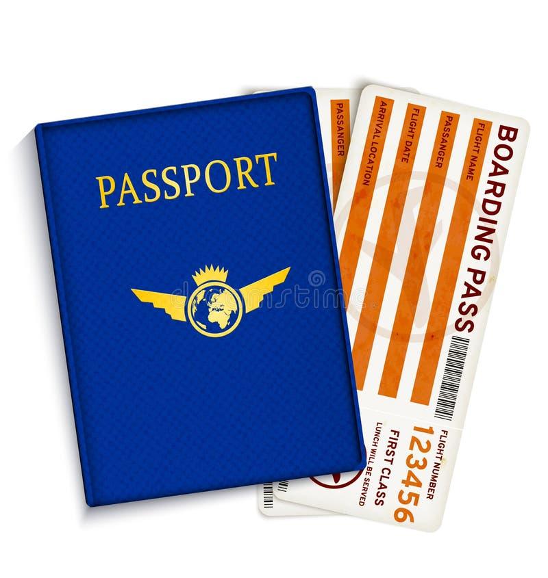 De instapkaartkaartjes van de luchtvaartlijnpassagier vector illustratie