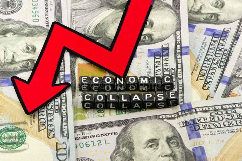 De instorting van de economie stock foto's