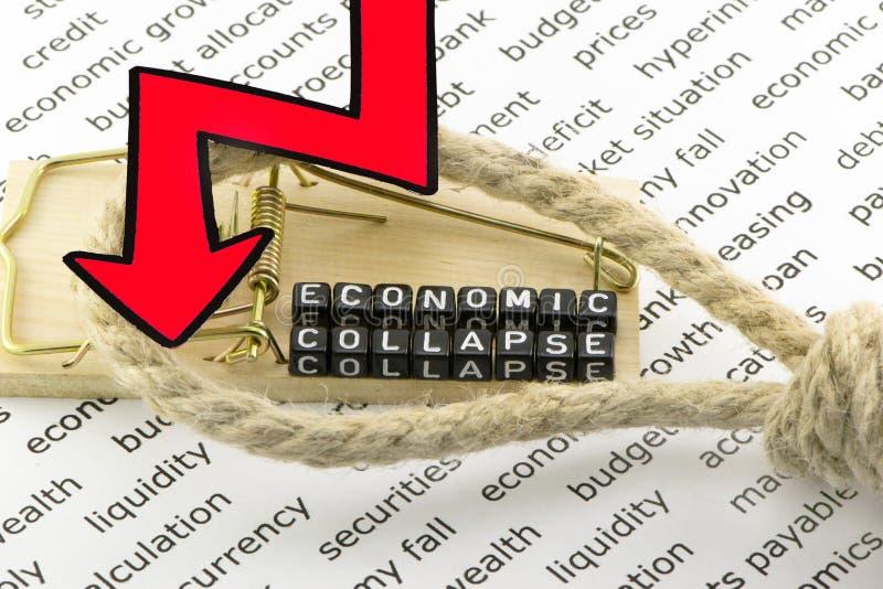De instorting van de economie stock foto