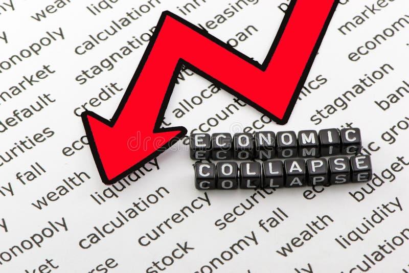 De instorting van de economie van woorden stock afbeelding