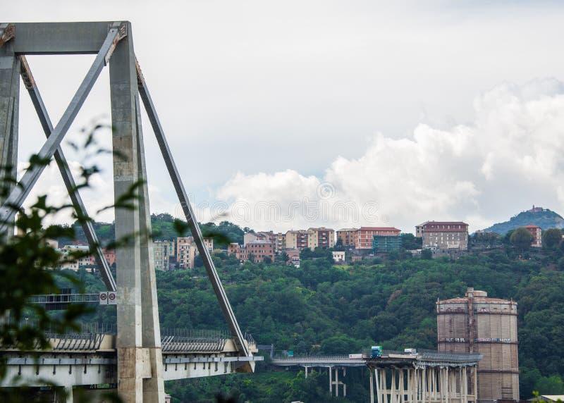 De instorting van hangbrug Morandi Ponte Morandi stock fotografie